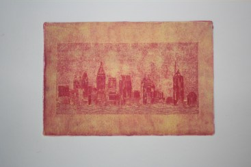 Atlanta Skyline - etching with surface roll