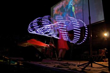 "Art on the Atlanta Beltline live performance of multimedia show ""Dandelion's Voyage"" in September 2015. Photo credit: John Becker"